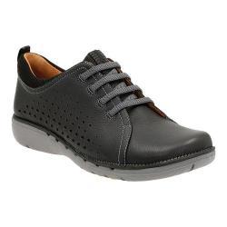 Women's Clarks Un.Press Sneaker Black Cow Full Grain Leather
