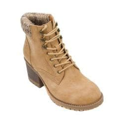 Women's Cliffs by White Mountain Tulane Sweater Collar Hiker Boot Wheat Distressed PU/Multi Sweater