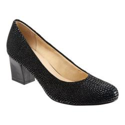 Women's Trotters Candela Pump Black Raised Lizard Leather