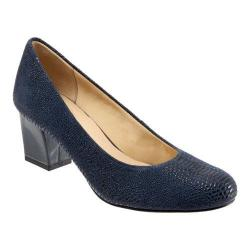 Women's Trotters Candela Pump Navy Raised Lizard Leather