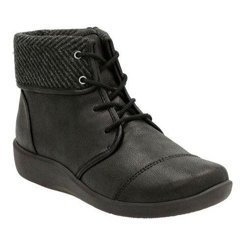 Women's Clarks Sillian Frey Ankle Boot Black Synthetic Nubuck