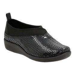 Women's Clarks Sillian Greer Slip-On Black Snake Synthetic Nubuck