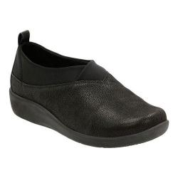Women's Clarks Sillian Greer Slip-On Black Synthetic Nubuck