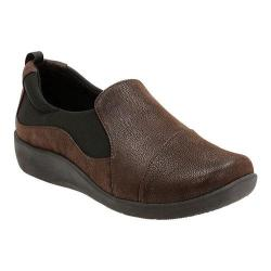 Women's Clarks Sillian Paz Slip-On Dark Brown Synthetic Nubuck