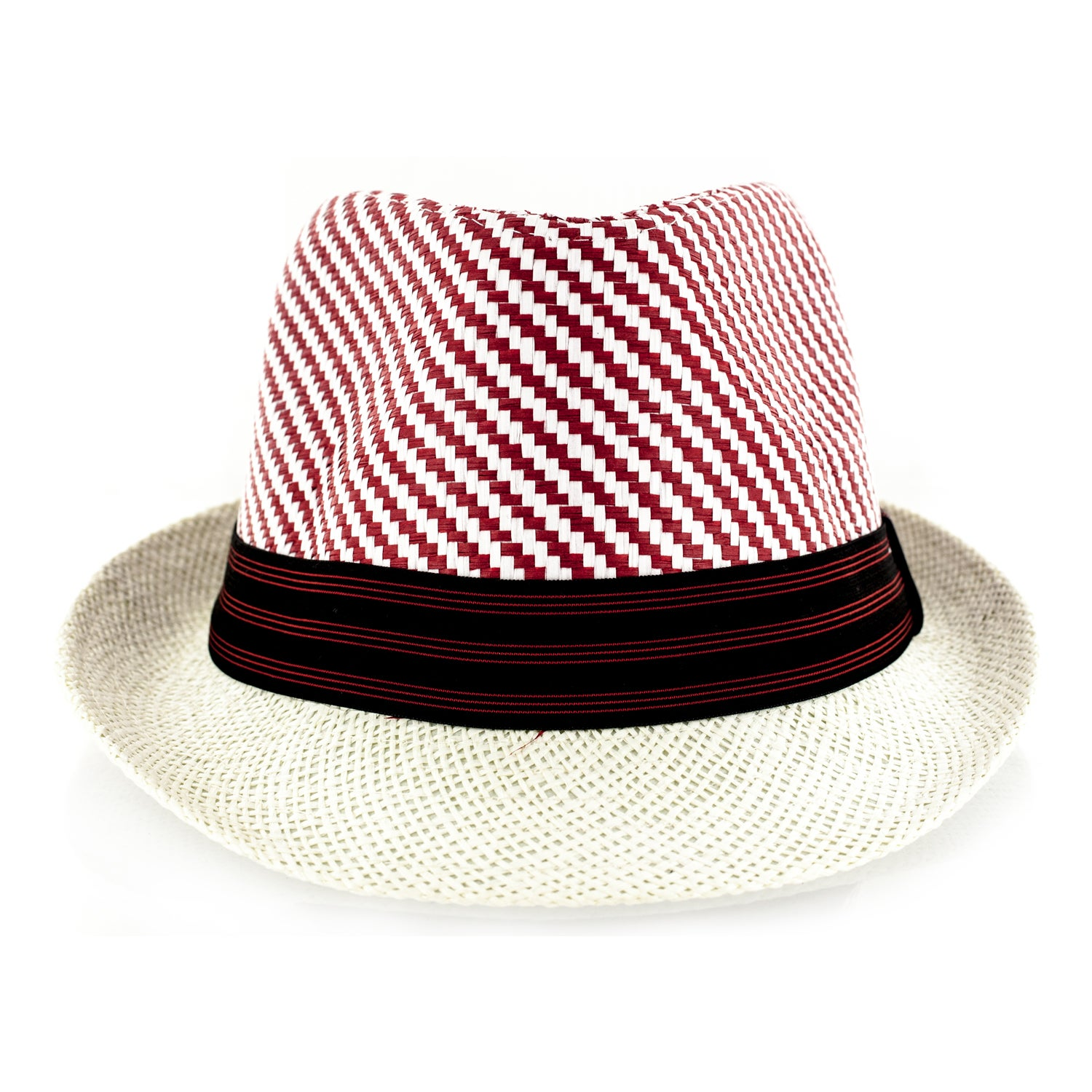 Faddism Straw-weave Fedora Hat with Black/Red Trim