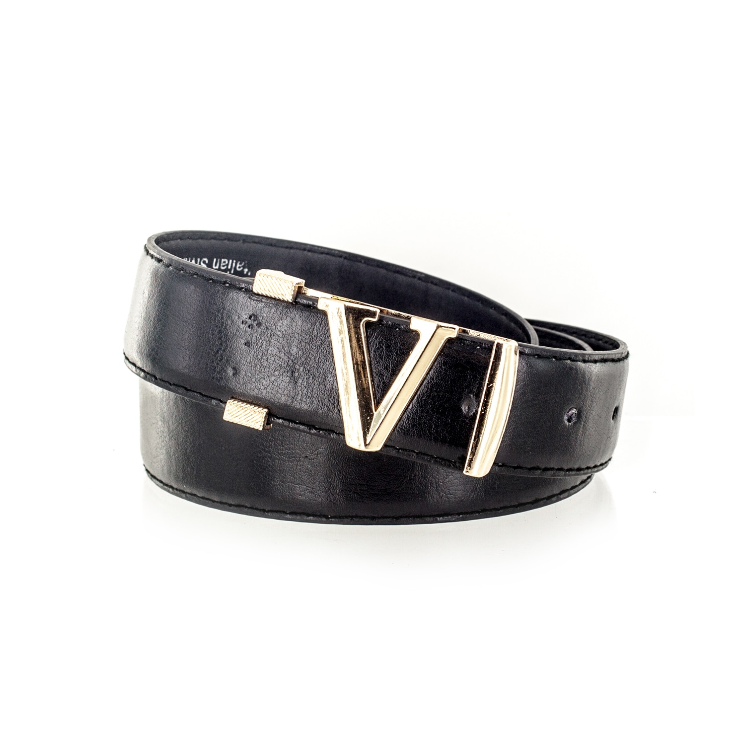 Faddism Men's Initial V Buckle Genuine Leather Belt