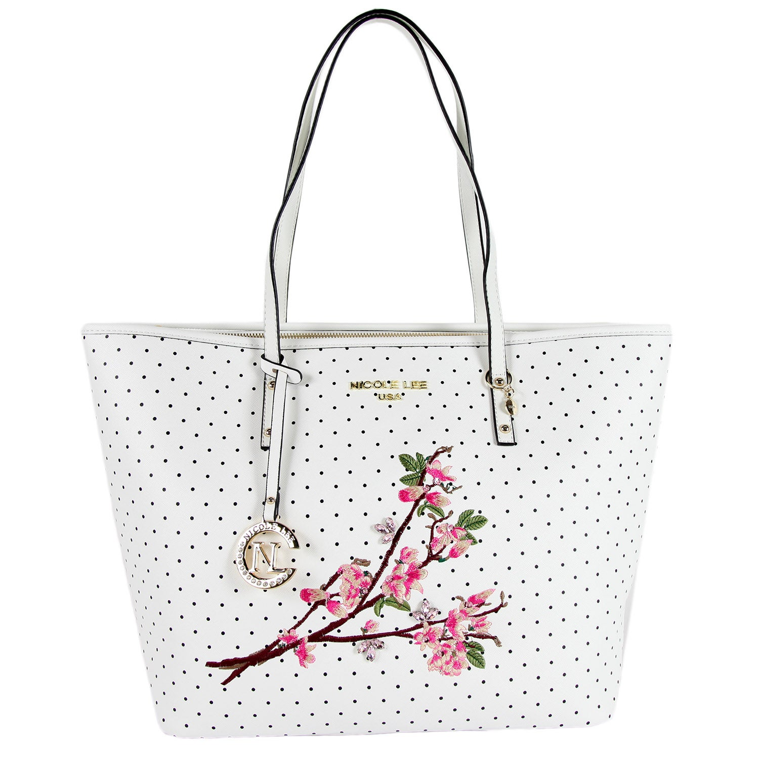 Nicole Lee Kayley White Floral Embellishment Shopper Tote Bag