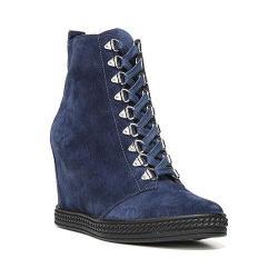 Women's Fergie Footwear Jillian High Top Wedge Navy Blue Leather