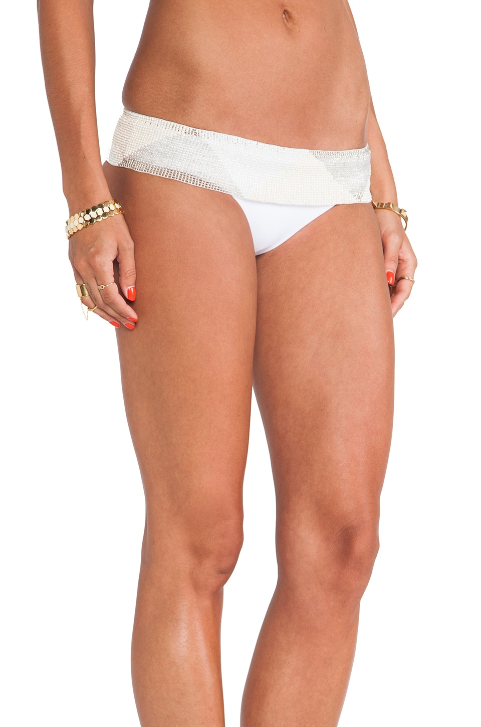 PilyQ Women's Water Lily Babe White Beaded Full-cut Bikini Bottom
