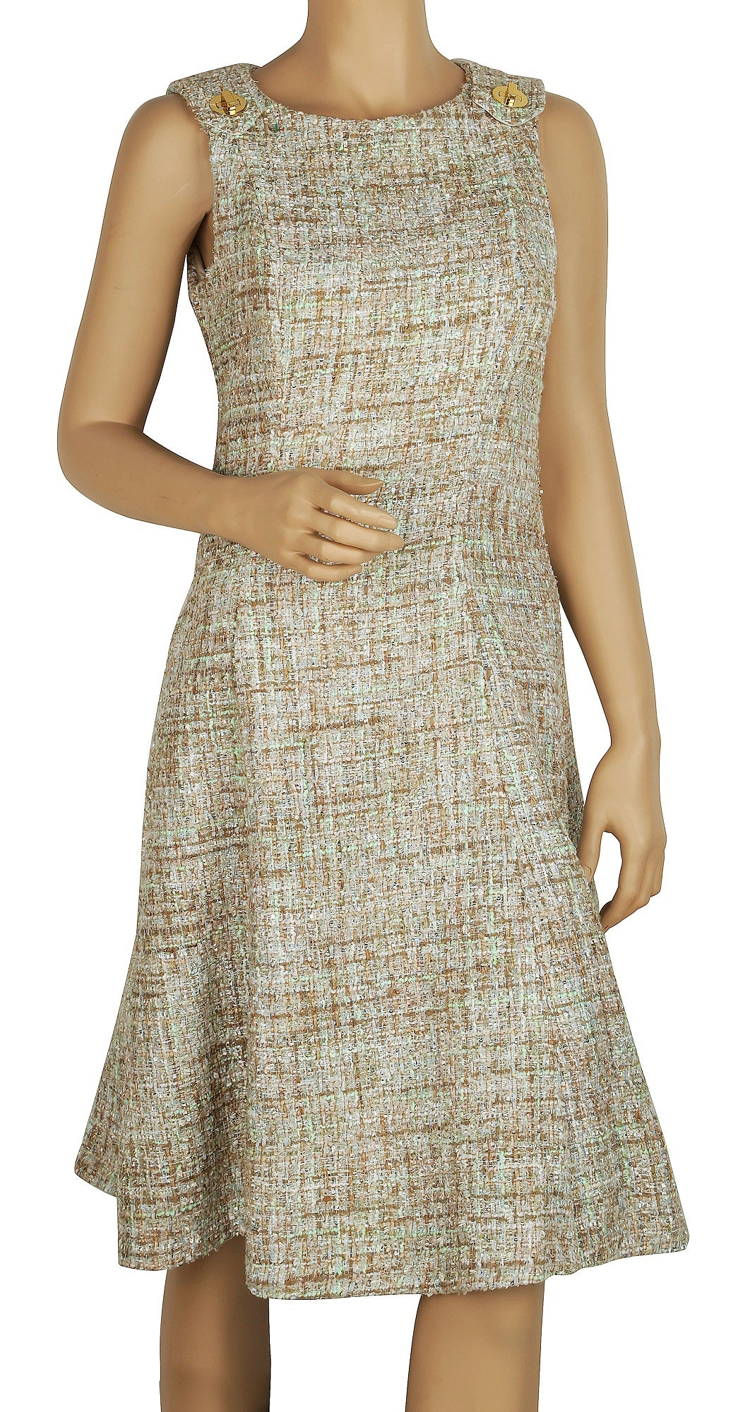 Badgley Mischka Mint Tweed Sleeveless Dress