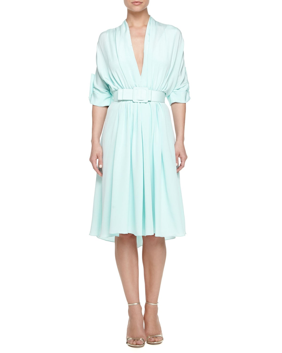 Badgley Mischka Women's Mint Green 100-percent Silk Pleated Dress