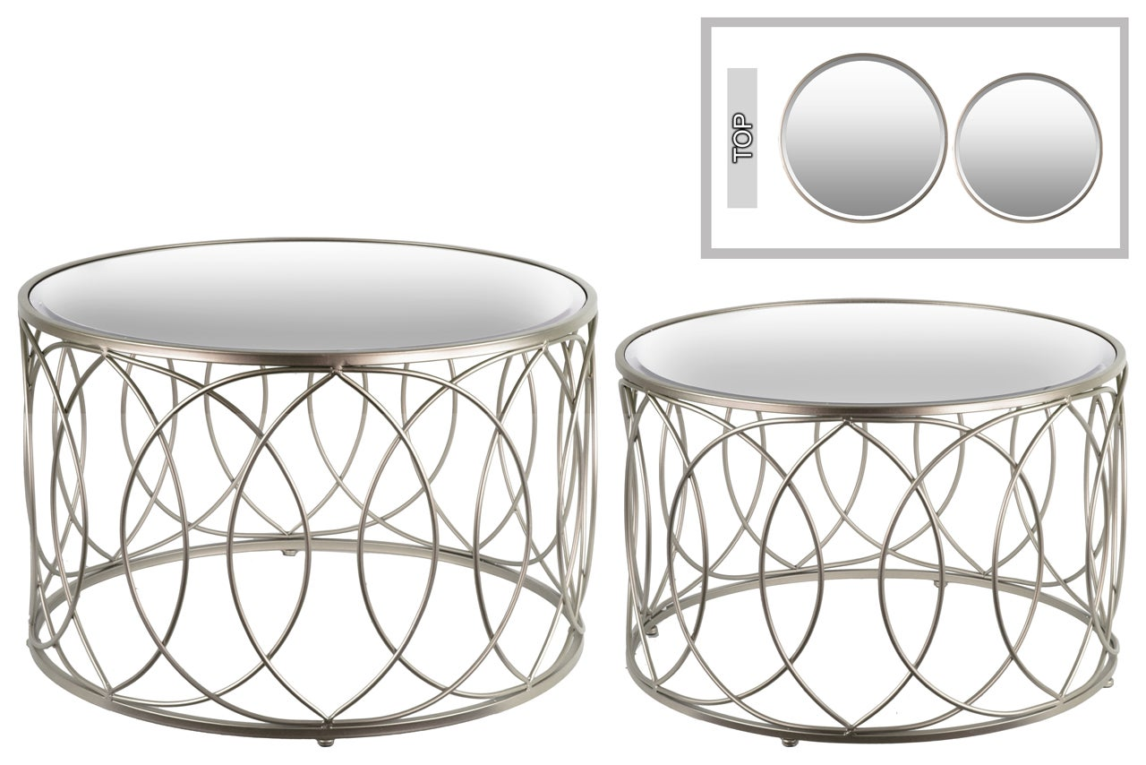 Urban Trends Collection Champagne Iron Round Coffee Tables with Mirror Top and Lattice Circle Body Design (Set of 2)