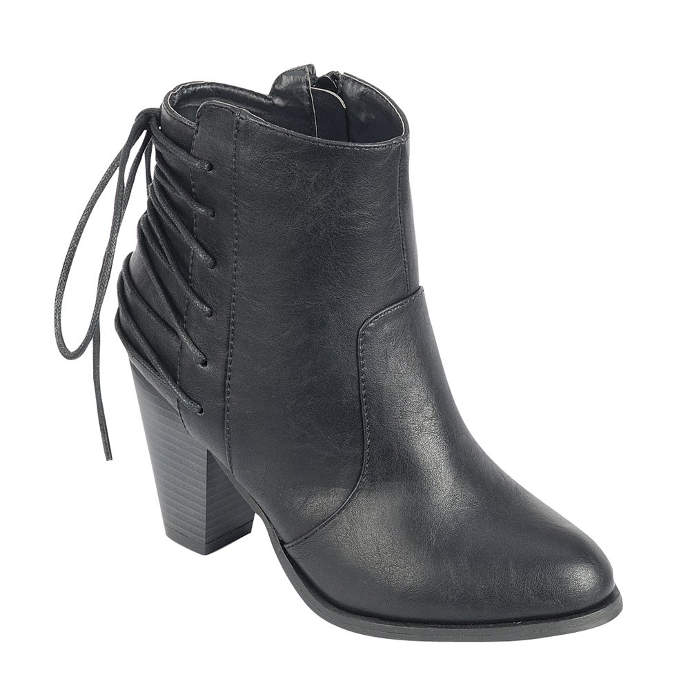 Forever GD82 Women's Synthetic Leather Western-style Almond-toe Lace-up Ankle Booties