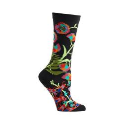 Women's Ozone African Florals Crew Socks (2 Pairs) Black