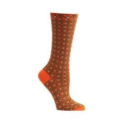 Women's Ozone Crescent Waves Crew Socks Orange