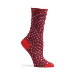 Women's Ozone Crescent Waves Crew Socks Red