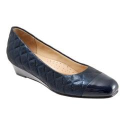 Women's Trotters Langley Wedge Navy Quilted Leather/Synthetic Cap