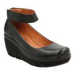 Women's Clarks Clarene Tide Ankle Strap Wedge Shoe Black Cow Full Grain Leather
