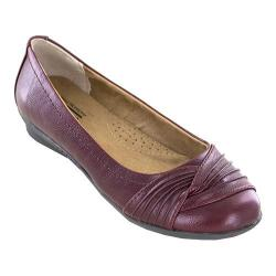 Women's Cliffs by White Mountain Hilt Ballet Flat Burgundy Grainy Semi-Gloss PU