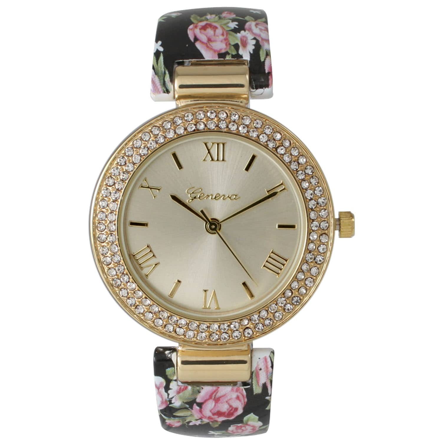Olivia Pratt Ceramic Floral Bangle Watch
