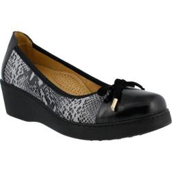 Women's Spring Step Alika Slip On Black Multi Python Leather/Suede
