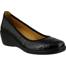 Women's Spring Step Kartii Slip On Black Croc Embossed Leather