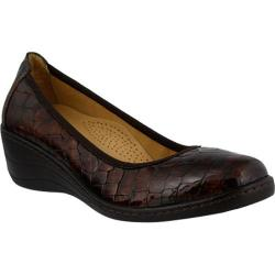 Women's Spring Step Kartii Slip On Brown Croc Embossed Leather