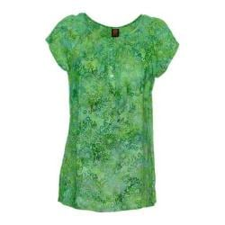 Women's Ojai Clothing Boho Peasant Short Sleeve Top Moroccan Green