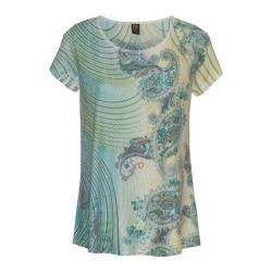 Women's Ojai Clothing Burnout Scoop Neck Short Sleeve Top Moroccan Green