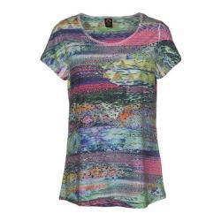 Women's Ojai Clothing Burnout Scoop Neck Short Sleeve Top Turquoise