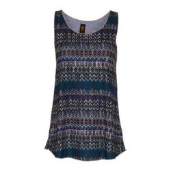 Women's Ojai Clothing Globe-Trotter Breezy Tank Top Turquoise Geometric