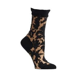 Women's Ozone Floral Damask Crew Socks Black