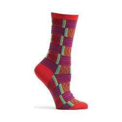 Women's Ozone Sahara Patchwork Crew Socks Red