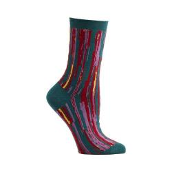 Women's Ozone Stripe Overlap Crew Socks (2 Pairs) Turquoise