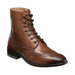 Men's Florsheim Capital Wingtip Lace Up Boot Cognac Smooth Leather