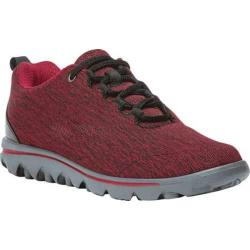 Women's Propet TravelActiv Bungee Lace Shoe Black/Red Heather Nylon Mesh/Polyurethane