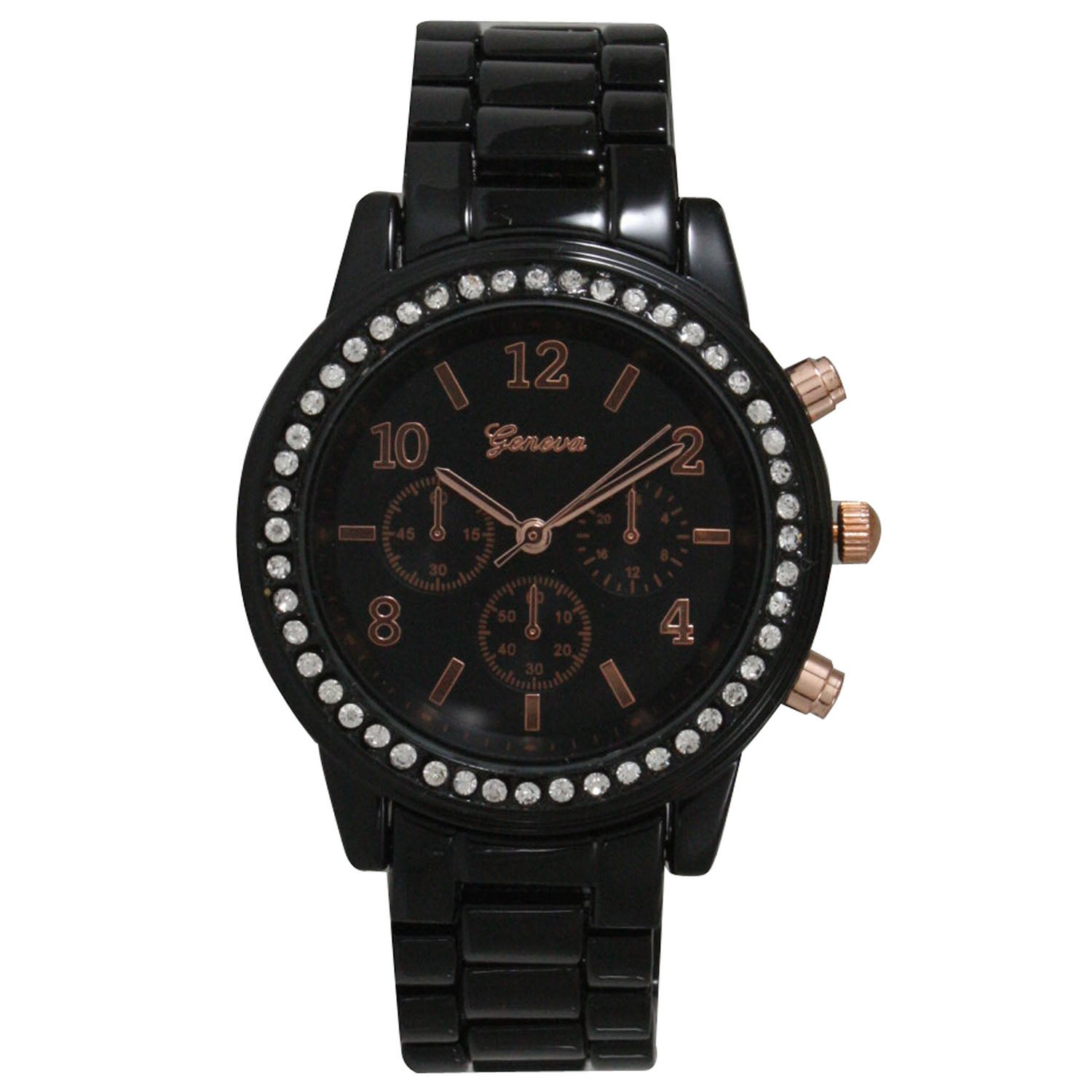 Olivia Pratt Decorative Chronograph Rhinestone Bezel Women's Bracelet Watch