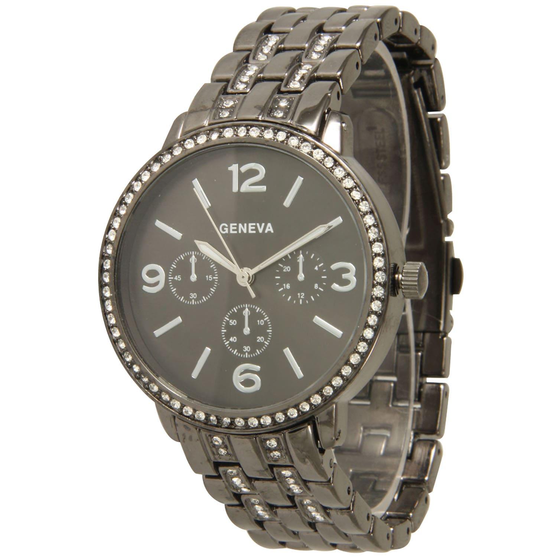 Olivia Pratt Simple Rhinestone Bezel and Basket Link Bracelet Watch