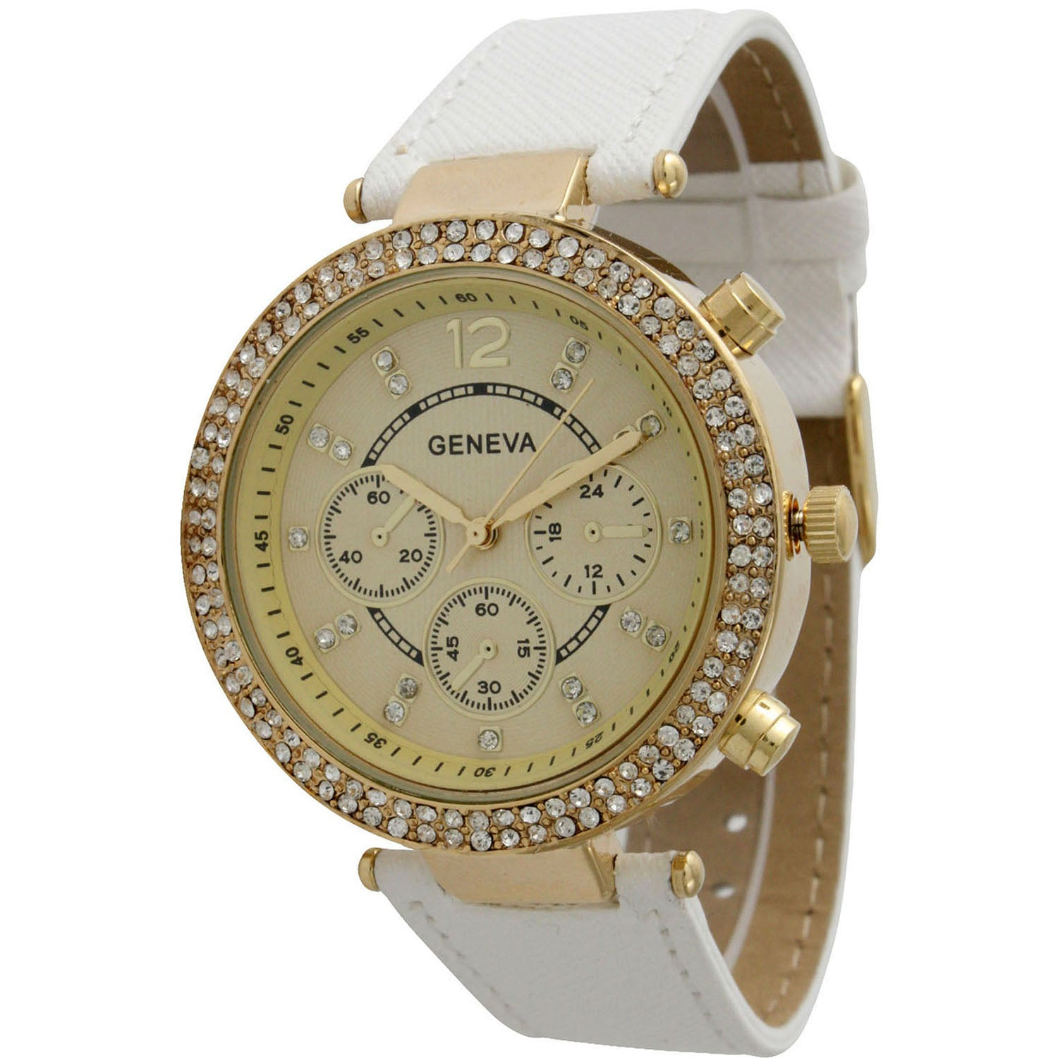 Olivia Pratt Elegant Rhinestone Leather Band Watch