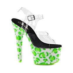 Women's Pleaser Bejeweled 708UVLP Ankle-Strap Sandal Clear PVC/Neon White/Neon Green
