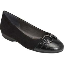 Women's A2 by Aerosoles Ultrabrite Flat Black Faux Leather/Faux Suede