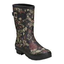Women's Aerosoles Rain Date Rain Boot Black Floral Rubber