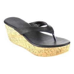 Women's Wild Diva Bee-2-SU Thong Sandal Black Faux Leather