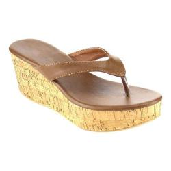 Women's Wild Diva Bee-2-SU Thong Sandal Brown Faux Leather