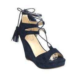 Women's Wild Diva DW6168-SR Platform Wedge Sandal Navy Faux Suede