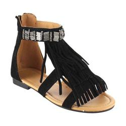 Girls' Wild Diva Favorite-10K Ankle Strap Sandal Black Faux Leather