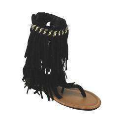 Girls' Wild Diva Favorite-91K Thong Gladiator Sandal Black Faux Suede