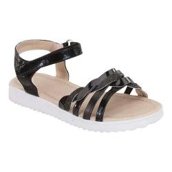 Girls' Wild Diva Kristin-2K-FE Ankle Strap Sandal Black Faux Leather
