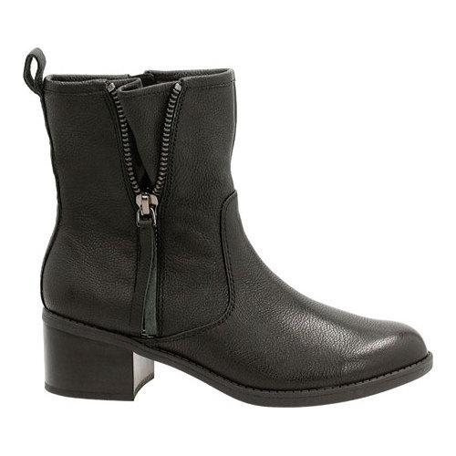 Women's Clarks Nevella Devon Low Boot Black Leather - Thumbnail 1