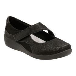Women's Clarks Sillian Bella Mary Jane Black Synthetic Nubuck